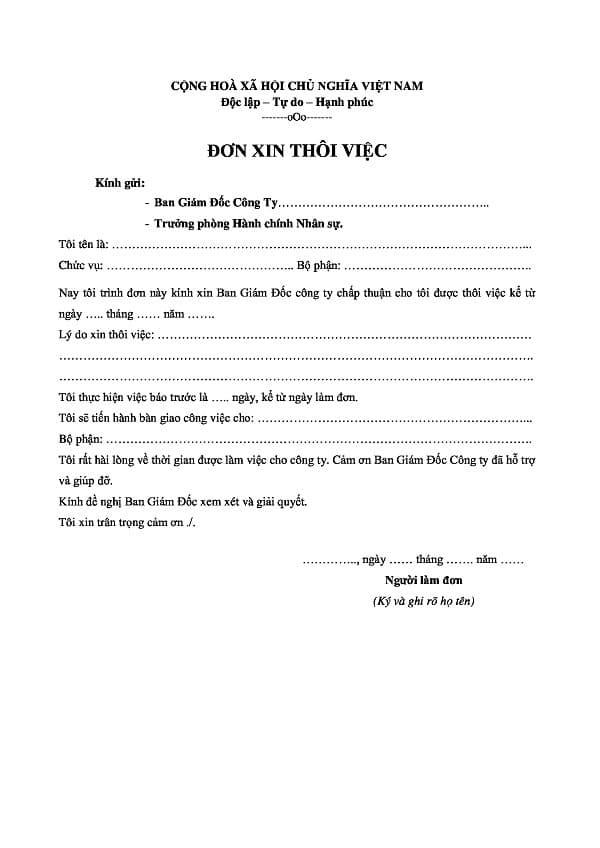 Mẫu đơn xin nghỉ việc trước thời hạn -ViecLamVui
