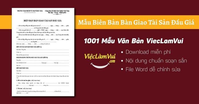 Biên bản bàn giao tài sản đấu giá - 1001 Mẫu văn bản ViecLamVui