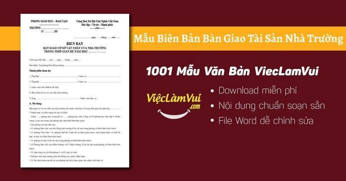 Biên bản bàn giao tài sản nhà trường - 1001 Mẫu văn bản ViecLamVui