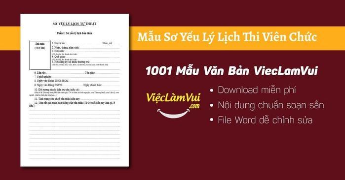 Sơ yếu lý lịch thi viên chức - 1001 Mẫu văn bản ViecLamVui
