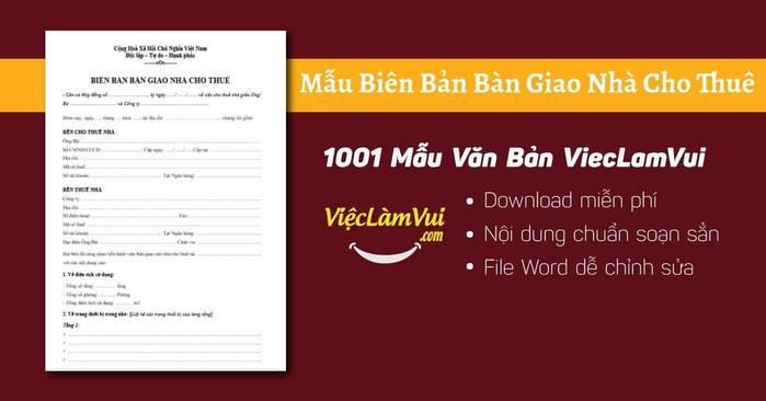 Biên bản bàn giao nhà cho thuê - 1001 Mẫu Văn Bản ViecLamVui