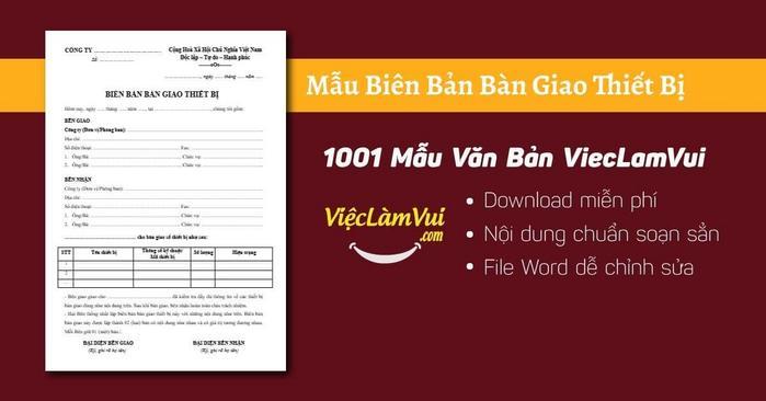 Biên bản bàn giao thiết bị - 1001 Mẫu Văn Bản ViecLamVui