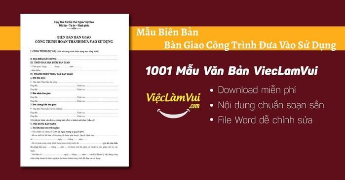 Biên bản bàn giao công trình - 1001 Mẫu Văn Bản ViecLamVui