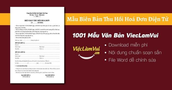 Biên bản thu hồi hoá đơn điện tử - 1001 Mẫu Văn Bản ViecLamVui