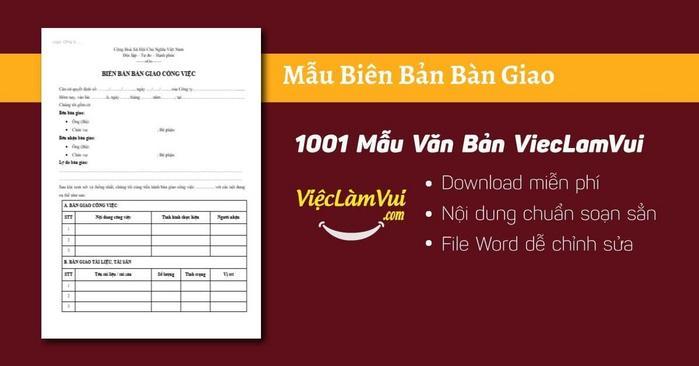 Mẫu biên bản bàn giao - 1001 Mẫu Văn Bản ViecLamVui