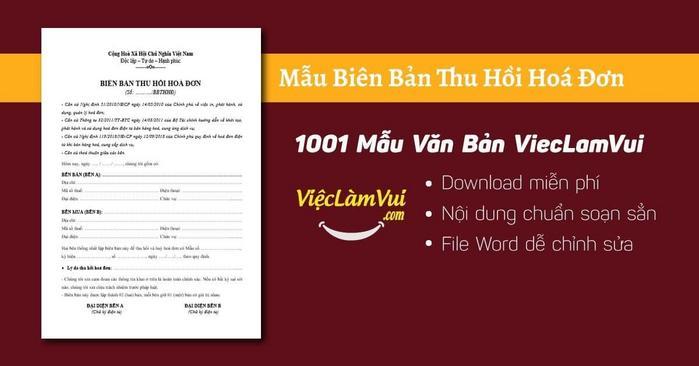 Biên bản thu hồi hoá đơn - 1001 Mẫu Văn Bản ViecLamVui