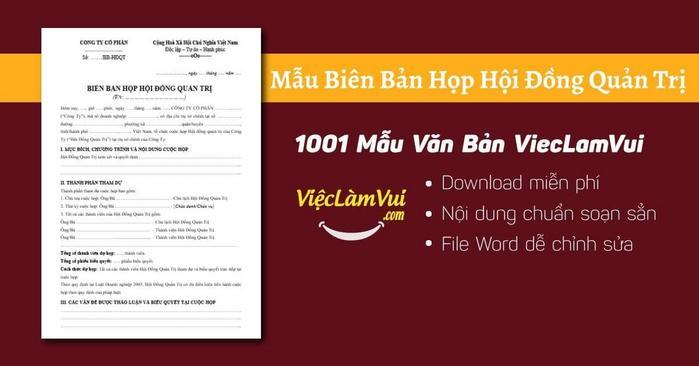 Biên bản họp hội đồng quản trị - 1001 Mẫu Văn Bản ViecLamVui