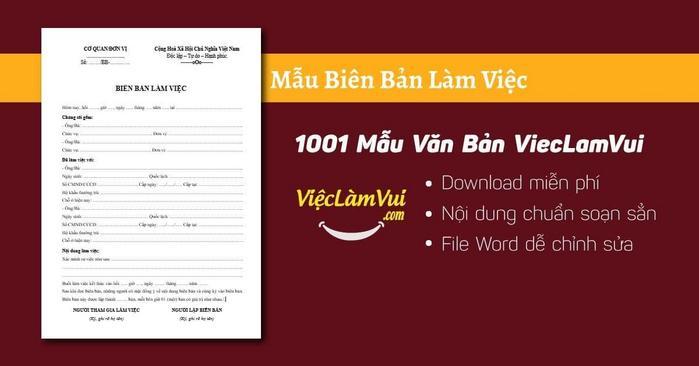Mẫu biên bản làm việc - 1001 Mẫu văn bản ViecLamVui