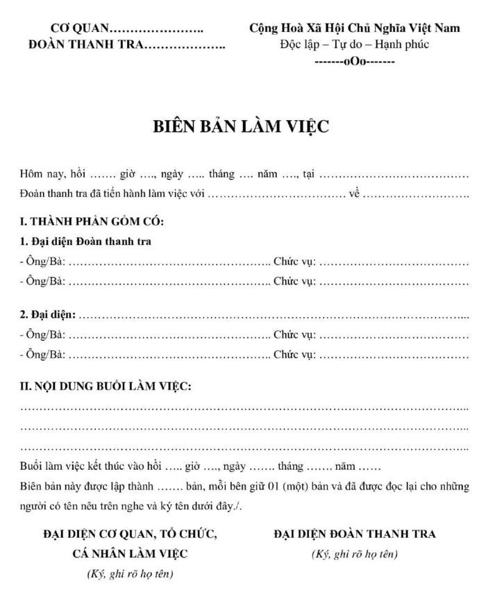 Mẫu biên bản làm việc của đoàn kiểm tra - ViecLamVui