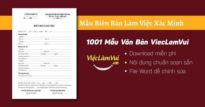 Mẫu biên bản làm việc xác minh - 1001 Mẫu văn bản ViecLamVui
