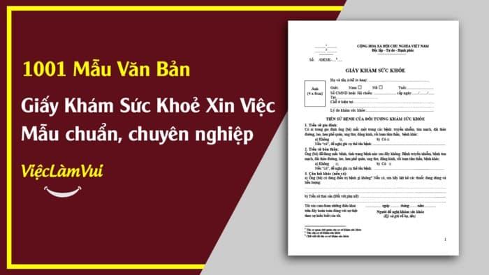 Mẫu giấy khám sức khoẻ xin việc - ViecLamVui