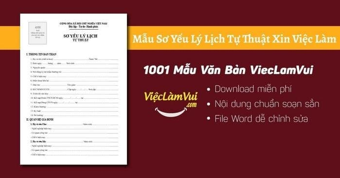 Mẫu sơ yếu lý lịch tự thuật xin việc làm - ViecLamVui