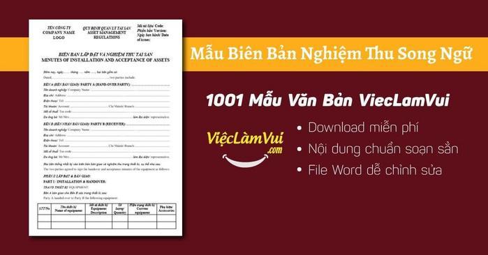 Mẫu biên bản nghiệm thu song ngữ - 1001 Mẫu Văn Bản ViecLamVui