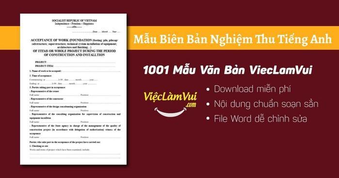 Mẫu biên bản nghiệm thu tiếng Anh - 1001 Mẫu Văn Bản ViecLamVui