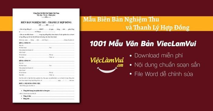 Mẫu biên bản nghiệm thu và thanh lý hợp đồng - 1001 Mẫu Văn Bản ViecLamVui