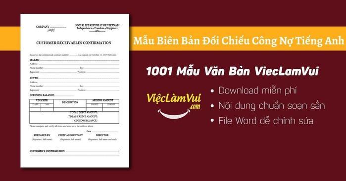 Biên bản đối chiếu công nợ tiếng Anh - 1001 Mẫu Văn Bản ViecLamVui