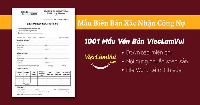 Mẫu biên bản xác nhận công nợ - 1001 Mẫu Văn Bản ViecLamVui
