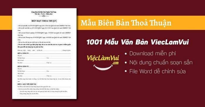 Biên bản thoả thuận - 1001 Mẫu Văn Bản ViecLamVui