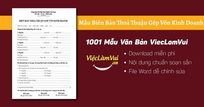 Mẫu biên bản thoả thuận góp vốn kinh doanh - 1001 Mẫu Văn Bản ViecLamVui