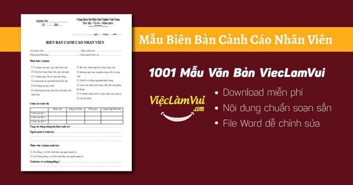 Biên bản cảnh cáo nhân viên - ViecLamVui