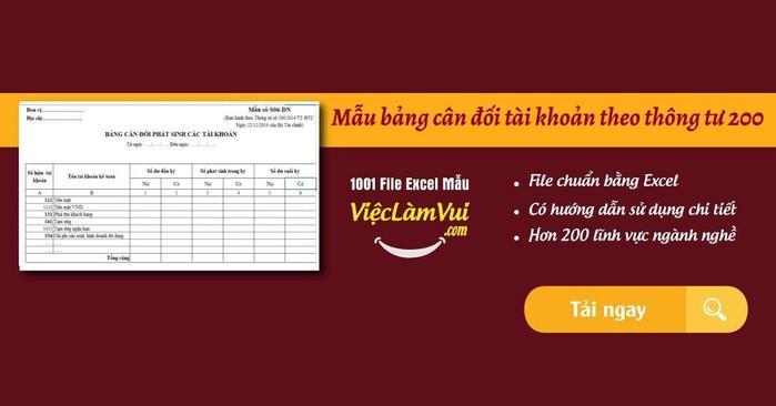 Mẫu bảng cân đối tài khoản theo thông tư 200 - ViecLamVui