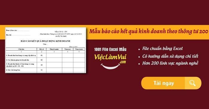 Mẫu báo cáo kết quả kinh doanh theo thông tư 200 - ViecLamVui