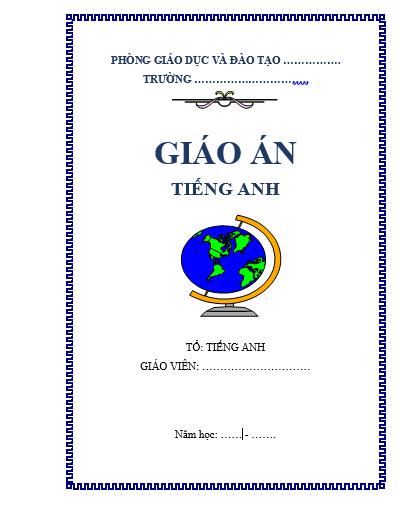 Mẫu bìa giáo án tiếng Anh
