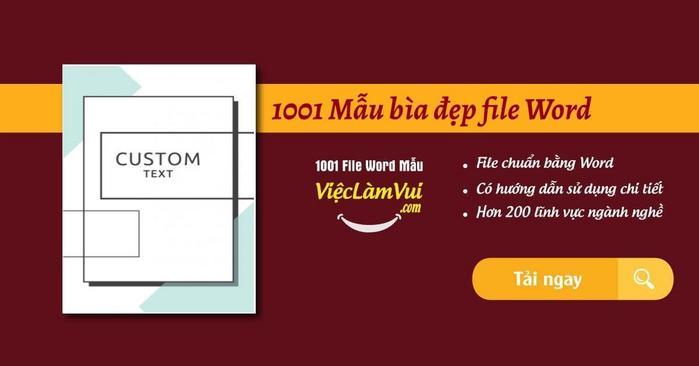 1001 Mẫu bìa đẹp file Word - ViecLamVui