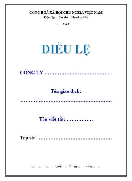 Mẫu bìa điều lệ công ty file Word - ViecLamVui
