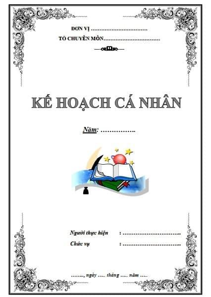 Mẫu bìa kế hoạch cá nhân file Word - ViecLamVui