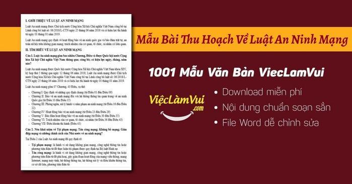 Mẫu bài thu hoạch về luật an ninh mạng file Word - ViecLamVui