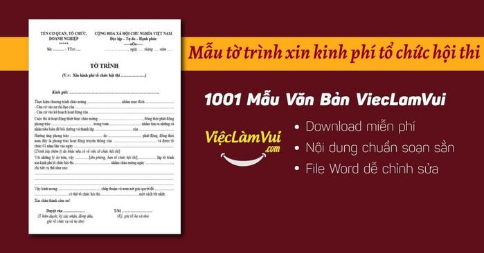 Tờ trình xin kinh phí tổ chức hội thi - ViecLamVui