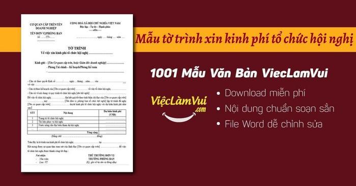 Tờ trình xin kinh phí tổ chức hội nghị - ViecLamVui