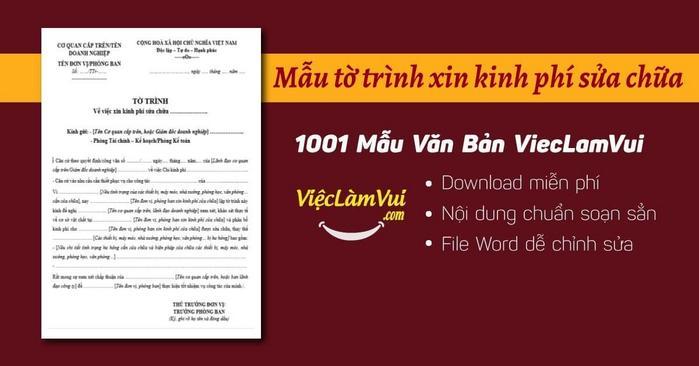 Tờ trình xin kinh phí sửa chữa - ViecLamVui
