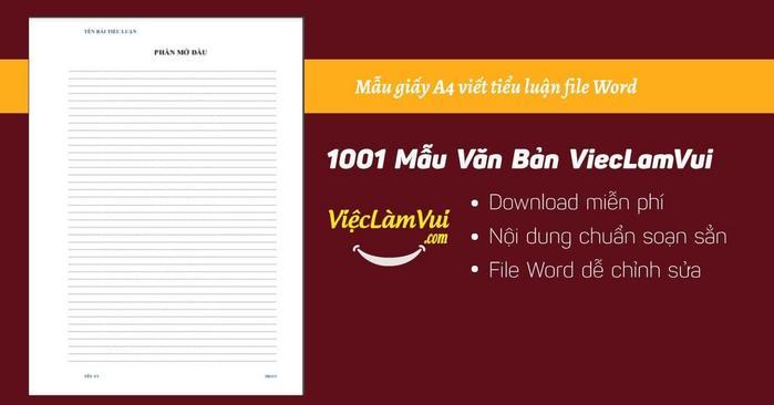 Mẫu giấy A4 viết tiểu luận file Word - ViecLamVui