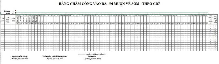 Mẫu bảng chấm công theo giờ - ViecLamVui