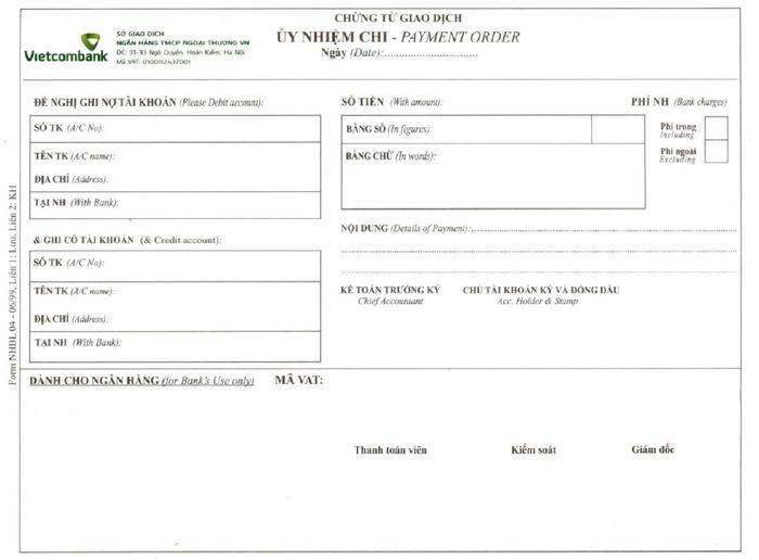 Mẫu UNC Vietcombank chuẩn .pdf ✓ Sử dụng lập lệnh chi thanh toán, chuyển khoản thông qua tài khoản ngân hàng cá nhân, tài khoản doanh nghiệp mở tại Vietcombank ✓ Tải mẫu ủy nhiệm chi ngân hàng Vietcombank file PDF miễn phí