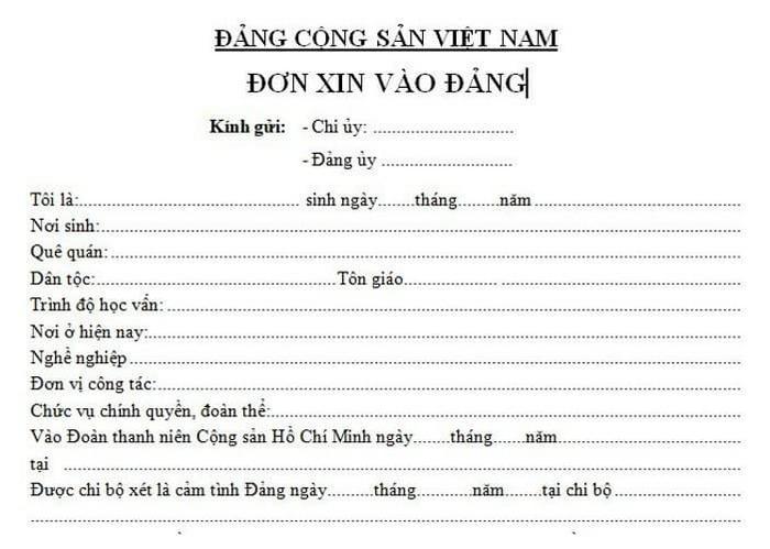 Phần giới thiệu sơ lược bản thân trong đơn xin vào đảng - ViecLamVui