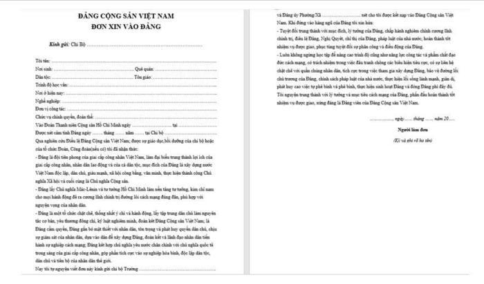 Hướng dẫn viết đơn xin vào đảng - ViecLamVui