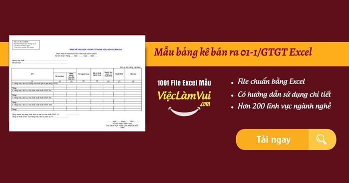 Mẫu bảng kê bán ra 01-1/GTGT Excel - bảng kê hàng hóa dịch vụ bán ra